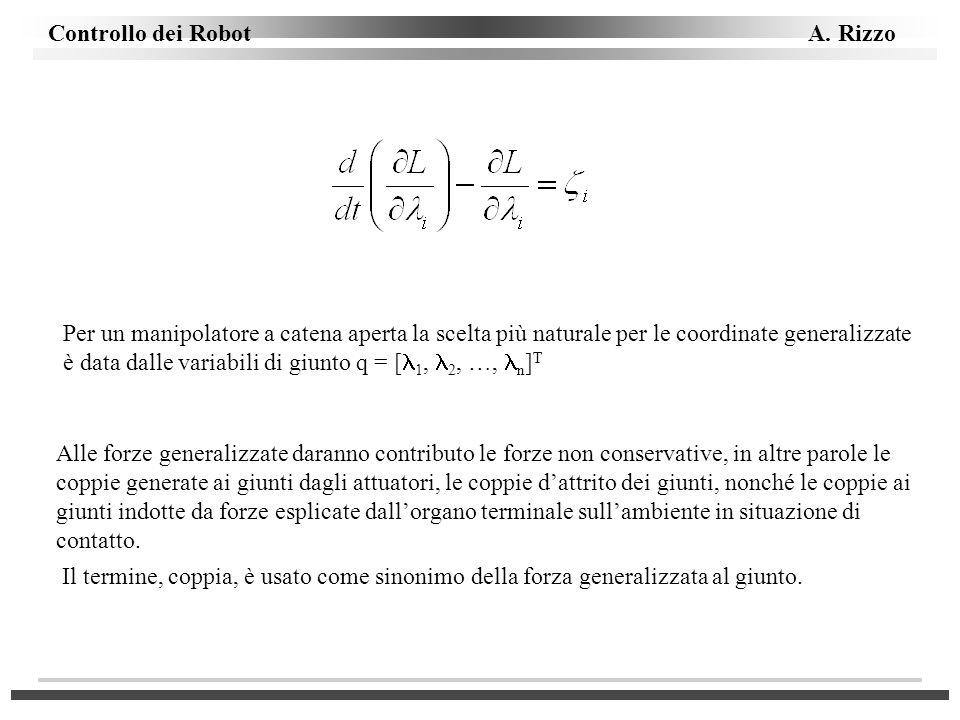 Per un manipolatore a catena aperta la scelta più naturale per le coordinate generalizzate è data dalle variabili di giunto q = [1, 2, …, n]T